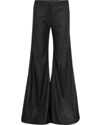 Black Leather Wide Leg Pants