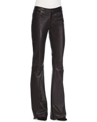 Leather flare leg pants black medium 3638353