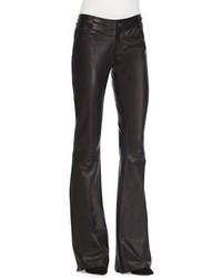 Alice + Olivia Leather Flare Leg Pants Black
