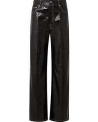 Helmut Lang Leather Wide Leg Pants