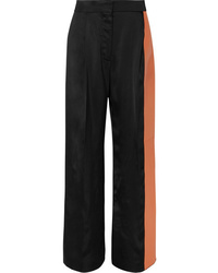 Loewe Paneled Satin And Leather Wide Leg Pants