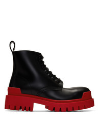 Balenciaga Black And Red Strike Boots