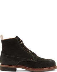 rag & bone Black Brushed Leather Rowan Boots