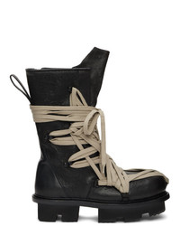 Rick Owens Black Lace Up Army Megatooth Boots