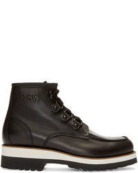DSQUARED2 Black Leather Lace Up Ankle Boots