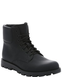 Gucci Black Matte Leather Lace Up Work Boots
