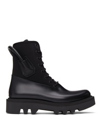 Givenchy Black Neoprene And Rubber Combat Boots