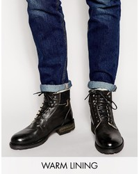 Asos Brand Work Boots In Black Leather With Fleece Lining