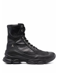 Philipp Plein Chunky Lace Up Leather Boots