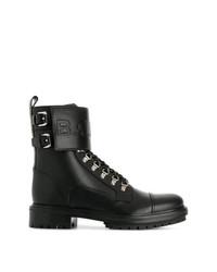 Balmain Embossed Logo Strap Boots