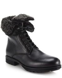 Aquatalia Hayden Shearling Lined Leather Lace Up Boots