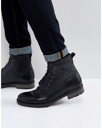 Asos Lace Up Work Boots In Black Leather With Faux Shearling Lining