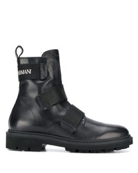 Emporio Armani Logo Embroidered Ankle Boots