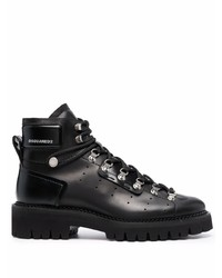 DSQUARED2 Logo Print Leather Ankle Boots