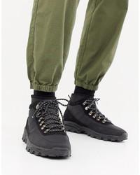 ASOS DESIGN Technical Hiker Boots In Black Textile