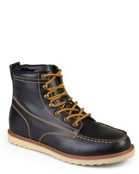 Vance Co Vance Co Wyatt Faux Leather Lace Up Moc Toe Work Boots