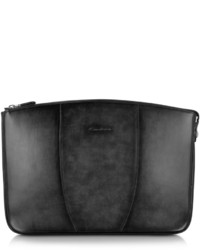 Santoni Black Leather Clutch