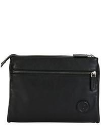Giorgio Armani Leather Folding Tech Pouch Black