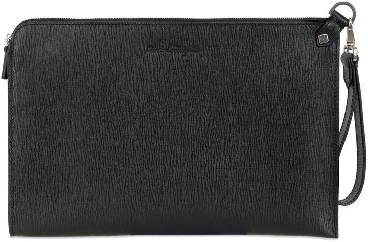 ... Salvatore Ferragamo Revival Embossed Leather Pouch 3e7de530d19d9