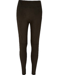 River Island Black Faux Suede High Waisted Leggings
