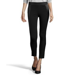 Vince Black Ponte Jersey And Satin Paneled Leggings