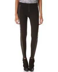Front zip leggings with leather panels medium 12947