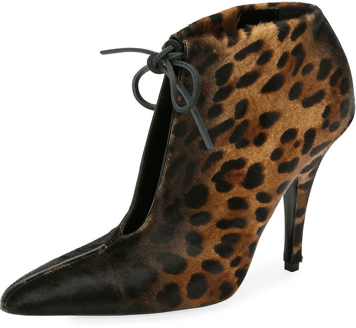 ad1d8a6cd0a69 Tom Ford Leopard Print Ankle Tie 105mm Bootie Blackmulti, $1,550 ...