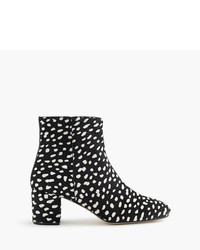 J.Crew Side Zip Ankle Boots In Leopard Calf Hair
