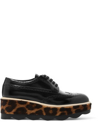 Prada Glossed Leather And Leopard Print Calf Hair Platform Brogues Black
