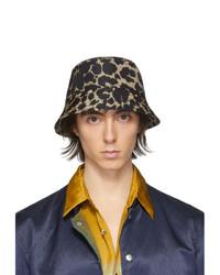 Dries Van Noten Black And Beige Leopard Gillian Bucket Hat