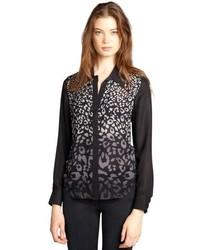 Black leopard print silk and yellow contrast long sleeve blouse medium 290487