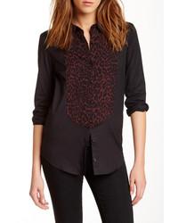 Leopard print panel blouse medium 290488