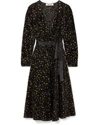Diane von Furstenberg Med Metallic Flocked Chiffon Wrap Dress