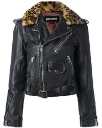 Just Cavalli Leopard Trim Biker Jacket