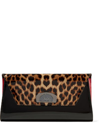 Vero dodat leopard print patent leather clutch black medium 629269
