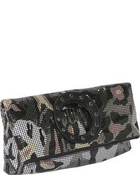Whiting and davis dark gattopardo fold over clutch medium 41458