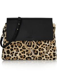 Black Leopard Leather Crossbody Bag