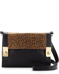 Chloé Chloe Jill Leopard Print Leather Crossbody Bag Nutblack