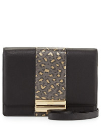 Chloé Chloe Kristen Leopard Print Leather Crossbody Bag Black