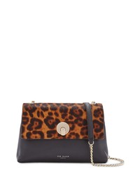 Ted Baker London Leopard Print Genuine Calf Hair Leather Crossbody Bag