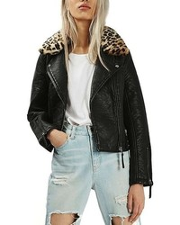 Topshop Faux Leather Jacket With Faux Leopard Fur Collar