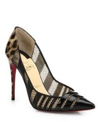 Christian Louboutin Bandy Leopard Patent Leather Mesh Pumps