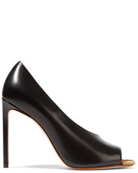 Francesco Russo Leopard Print Calf Hair Trimmed Leather Pumps Black