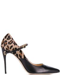 Jennifer Chamandi Black Leopard Lorenzo Pointed Heels