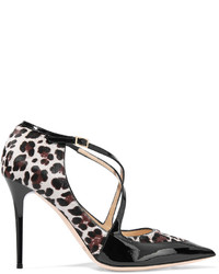 Leopard print pony hair and patent leather pumps medium 3644568