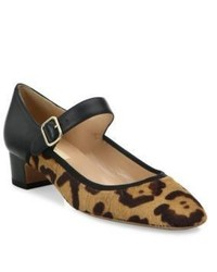 Valentino Plain Leopard Print Calf Hair Leather Mary Jane Pumps