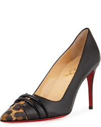 Christian Louboutin Split Vamp Leopard Print Cap Toe Red Sole Pump Black