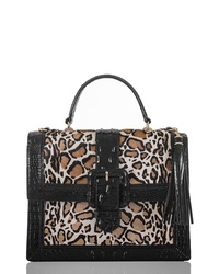 Black Leopard Leather Satchel Bag
