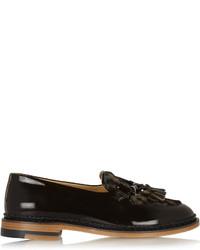 Black Leopard Leather Tassel Loafers