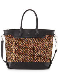 Ash Smith Leopard Print Calf Hair Leather Tote Bag Blackcamel